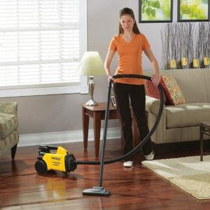 Woman with Vacuum on laminate